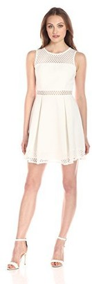 Minuet Women's Mesh-Overlay Fit-and-Flare Dress