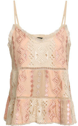 Love Sam Lattice-trimmed Embroidered Cotton-gauze Camisole