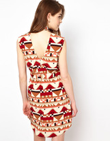 Viva Vena Cut Out Back Shirt Dress in Geo Print - Multi