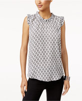 Cable & Gauge Ruffled Floral-Print Top