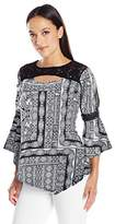 NY Collection Women's Plus Size Prt Ls Angel Knit Pullover W Crochet Trimmed Yoke