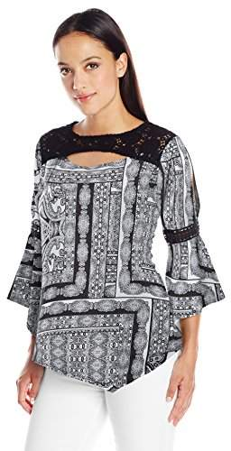 NY Collection Women's Prt Ls Angel Knit Pullover W Crochet Trimmed Yoke