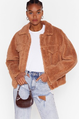 Nasty Gal Womens Those Faux Fur the Days Shirt Jacket - Camel