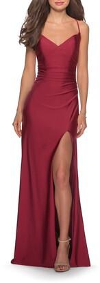 La Femme Cross Back Satin Jersey Gown