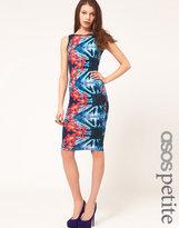 ASOS PETITE Body-Conscious Midi Dress In Tropical Floral Print
