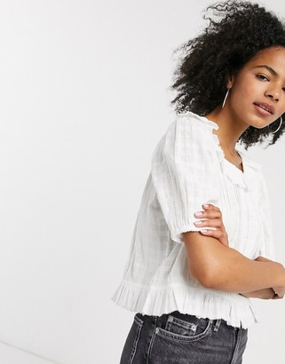And other stories & organic cotton frill hem top with lace inserts in white