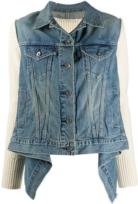 Sacai Draped Knit-Panel Denim Jacket