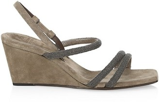 Brunello Cucinelli Monili-Trimmed Suede Wedge Slingback Sandals