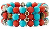 JCPenney Aqua & Orange Beaded 3-Row Stretch Bracelet