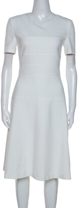 HUGO BOSS Boss By White Cotton Blend Knee Length Diopela Dress S