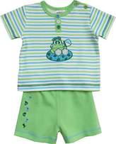 Schnizler Boy's 2 tlg. mit T-Shirt Froschli gestreift und Shorts aus Sweat Clothing Set - Green -