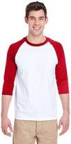 Gildan Mens Heavy Cotton 3⁄4-Sleeve Raglan G570 -WHITE/RED M