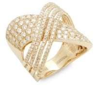 Effy Diamond & 14K Gold Crossover Midi Ring
