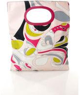 Emilio Pucci Bright Multi Color Abstract Print Rectangular Circle Handle Handbag