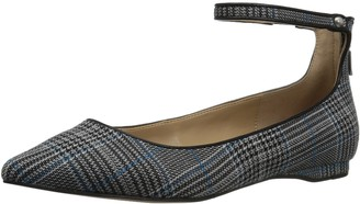 The Fix Amazon Brand Women's Evie Military-Inspired Ankle Strap Pointed-Toe Flat Blue Multi 8.5 B US