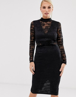 AX Paris lace long sleeve midi dress-Black