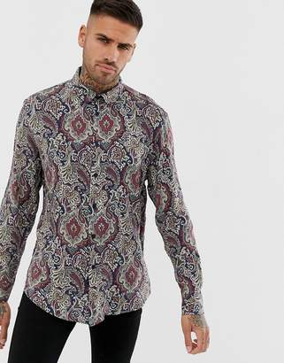 Bershka paisley print shirt with relaxed fit-Multi