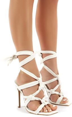 Public Desire Uk Convo PU Knotted Lace Up Stiletto High Heels