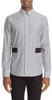 Givenchy Men's Band Applique Stripe Woven Shirt