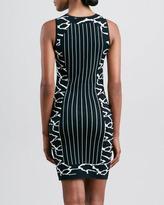 Versace Striped Intarsia Knit Dress, Black/White