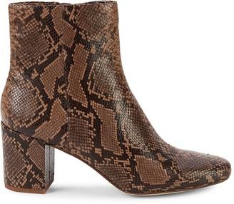 Splendid Heather III Snakeskin-Embossed Leather Booties
