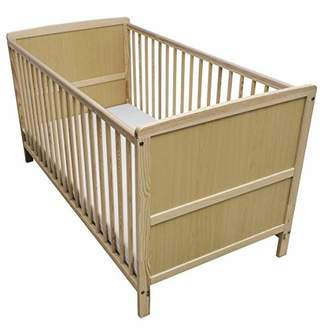 Camilla And Marc Kinder Valley Solid Pine Wood 2-in-1 Junior Cot Bed with a Flow Mattress, White, 144 x 76 x 80 cm