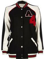 River Island Womens Black badge varsity bomber jacket