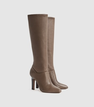 Reiss Cressida - Leather Knee High Boots in Taupe