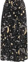 RIXO London Georgia Pleated Printed Silk Crepe De Chine Midi Skirt - Black