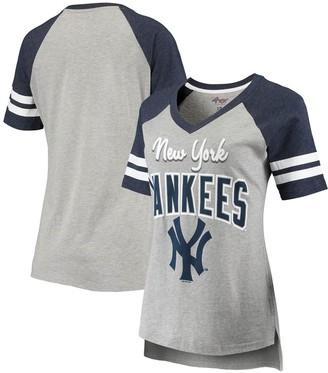 New York Yankees Women's G-III 4Her by Carl Banks Heathered Gray/Navy Goal Line Raglan V-Neck T-Shirt