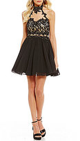 B. Darlin Embroidered Illusion Inset Fit-And-Flare Dress