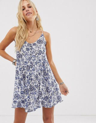 En Creme cami swing dress with button front in paisly floral-White