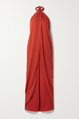Johanna Ortiz Net Sustain The Heart Of The Andes Draped Satin Halterneck Jumpsuit - Tomato red