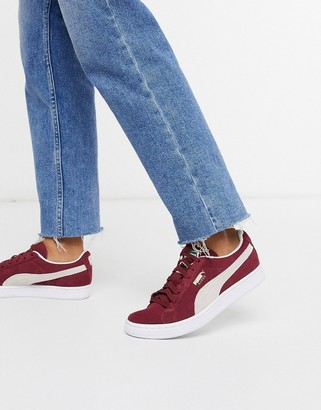 Puma suede CLASSIC+ sneakers in burgundy & white