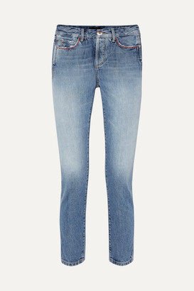 Alanui Cropped Embellished Mid-rise Slim-leg Jeans - Light denim