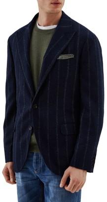 Brunello Cucinelli Windowpane Wool & Alpaca-Blend Suit Jacket