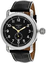 Longines Avigation L27774532 Men's Round Black Leather Watch