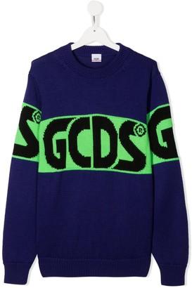 Gcds Kids TEEN logo colour-block jumper