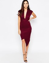 Liquorish Asymmetric Dress with Plunge Neck