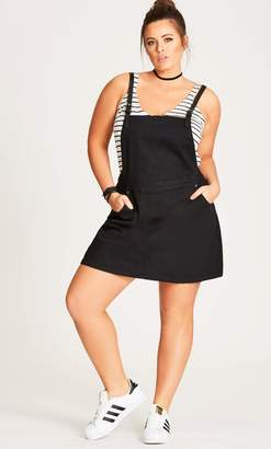 City Chic Denim Pinafore Dress in Black Size 14/X-Small Leather