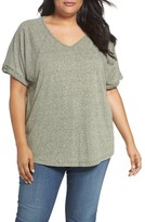 Sejour Plus Size Women's Heathered V-Neck Tee