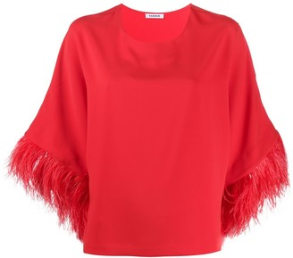 P.A.R.O.S.H. Feather Trimmed Wide Sleeved Top