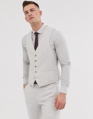 Moss Bros slim suit vest in beige linen with stretch