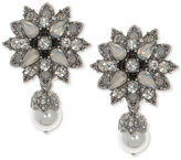 Marchesa Silver-Tone Crystal & Imitation Pearl Drop Earrings