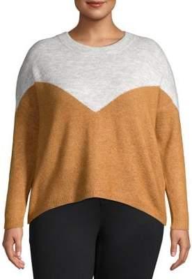 Vero Moda Curve Plus Rana Colorblocked Slouchy High-Low Sweater