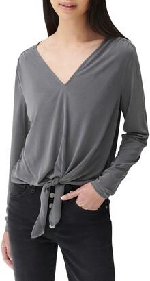 Lucky Brand V-Neck Tie Hem Long Sleeve Top