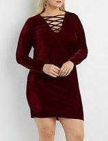 Charlotte Russe Plus Size Velvet Lattice Bodycon Dress