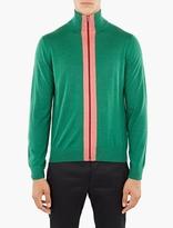 Paul Smith Green Merino Zip-Up Cardigan
