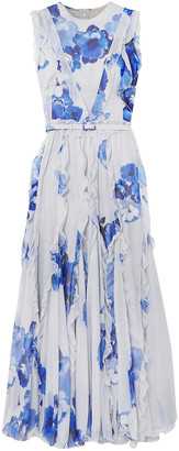 Costarellos Ruffled Pleated Floral-print Chiffon Maxi Dress