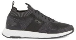 Running-style sneakers in mixed materials with knitted sock